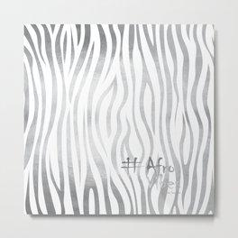 #AfroVibes Zebra Silver Metal Print