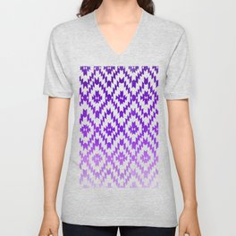 ombre purple ikat Unisex V-Neck