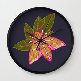 Nature moth - elephant hawk moth with leaves Wall Clock