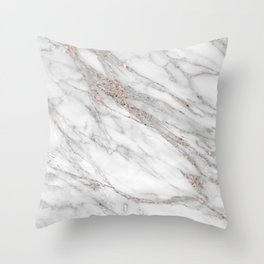 Pink Rose Gold Blush Metallic Glitter Foil on Grey Marble Throw Pillow