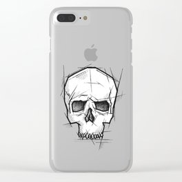 Skull Handmade Drawing, Made in pencil, charcoal and ink, Tattoo Sketch, Tattoo Flash, Sketch Clear iPhone Case