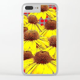DECORATIVE YELLOW CONE FLOWERS ON RED PATTERN ART Clear iPhone Case