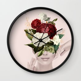 Collage of lady with flowers Wall Clock