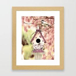 Chickadee Bird House Cottage Chic Decor A372 Framed Art Print