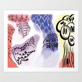 Jiggly Mountain.  Art Print