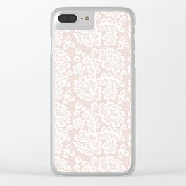 Elegant coral white modern floral lace pattern Clear iPhone Case