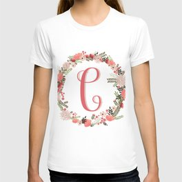 Personal monogram letter 'C' flower wreath T-shirt