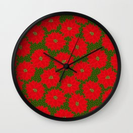 Festive Florals - Red Poinsettia on Green Wall Clock