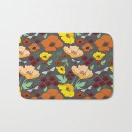 Flower Petals and Bees Grey Bath Mat