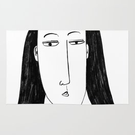 Stylised Charcoal Painting of a Woman Rug