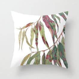 A touch of red - watercolour of eucalyptus branch Throw Pillow