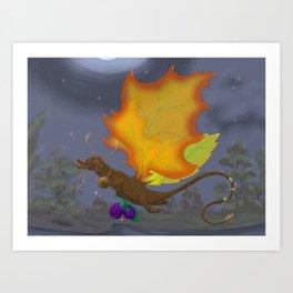 Autumn Otter Dragon Art Print