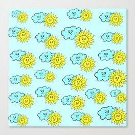 Cute baby design in blue Canvas Print