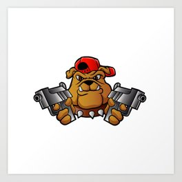 gangster bulldog  with pistols Art Print
