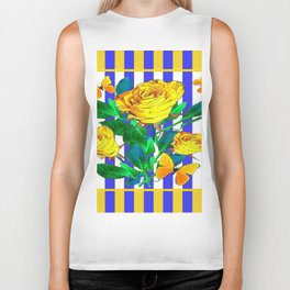 YELLOW SPRING ROSES & BUTTERFLIES WITH LILAC STRIPES Biker Tank