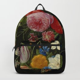"Jan van Kessel de Oude ""Tulips, peonies, chicory, carnations, cherry blossom and other flowers"" Backpack"