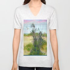 Plaid Beachscape with Seagrass Unisex V-Neck
