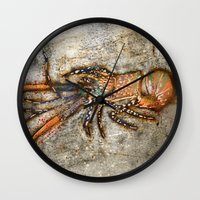 lobster Wall Clocks featuring Lobster by Buster Fidez