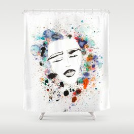 Sleepy Face in Spatter Pillow Shower Curtain