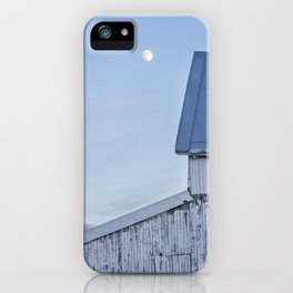 Moonrise Over White Barn iPhone Case