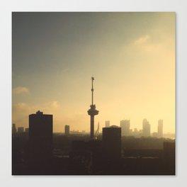 Sun rising in Rotterdam Canvas Print