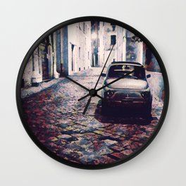 Classic Car in Back Street of Italy Wall Clock