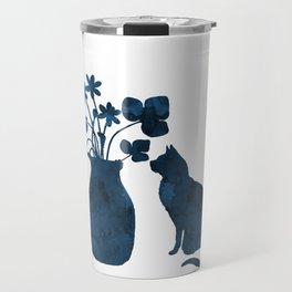 Cat and flowers Travel Mug