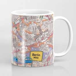 Illustrated map of Berlin-Mitte. Red Coffee Mug