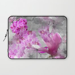 CHERRY BLOSSOMS ORCHIDS AND MAGNOLIA IMPRESSIONS IN PINK GRAY AND WHITE Laptop Sleeve