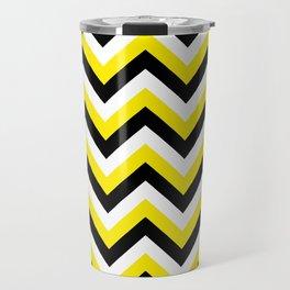 Yellow Black and White Chevrons Travel Mug