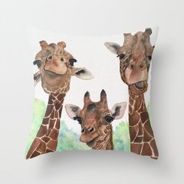 Giraffe's Family Portrait by Maureen Donovan Throw Pillow