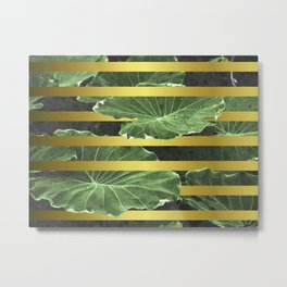 Green Leaves and Gold Stripes Metal Print