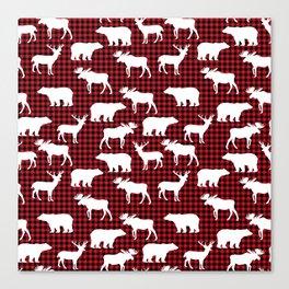 Plaid camping animals minimal bear moose deer nursery decor gender neutral woodland Canvas Print