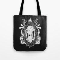 sasquatch Tote Bags featuring Sasquatch Skull by Urban Sasquatch