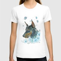 doberman T-shirts featuring Blue Doberman by Parmelyn