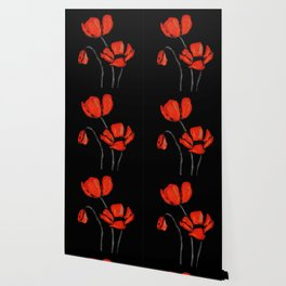 Red Poppies On Black by Sharon Cummings Wallpaper