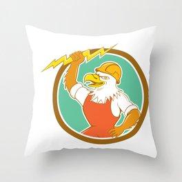 Bald Eagle Electrician Lightning Bolt Circle Cartoon Throw Pillow