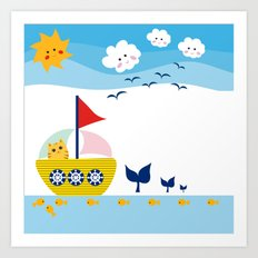 Sailing Cat Art Print
