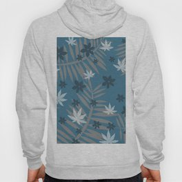 Fern Flower Leaves Design turquoise Hoody