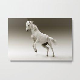 Prancing White Horse Metal Print