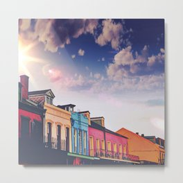 Sunny Cloudy Skies Iconic Colorful Rainbow New Orleans French Quarter Nola Architecture Cityscape Metal Print