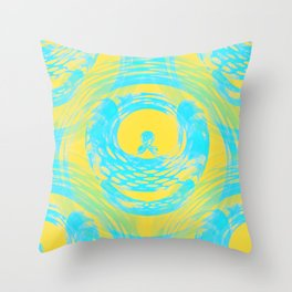 Abstract Aqua and Yellow Throw Pillow