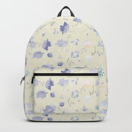 Pastel Watercolor Flowers on yellow background Backpack