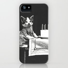 Funny kitschy vintage black and white photo dressed up hipster kittens cats iPhone Case