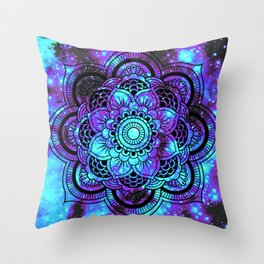 Mandala : Bright Violet & Teal Galaxy 2 Throw Pillow