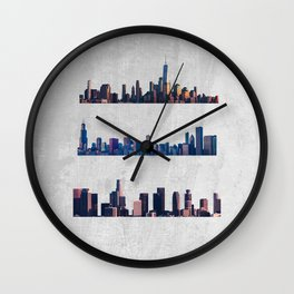 Chicago, New York City, And Los Angeles City Skylines Wall Clock