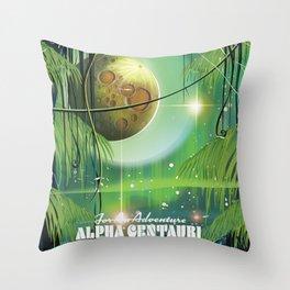 "Alpha Centauri Swamp ""Adventure"" vintage Sci-Fi travel poster Throw Pillow"