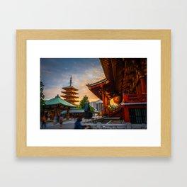 Hondo and pagoda at sunset in Senso-ji temple, Tokyo, Japan Framed Art Print