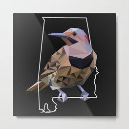 Alabama – Northern Flicker (Black) Metal Print