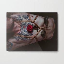 Rope and Rose Metal Print